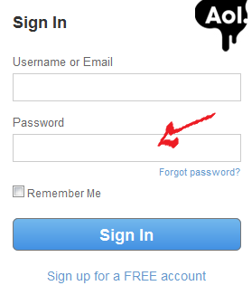 aol login step 2
