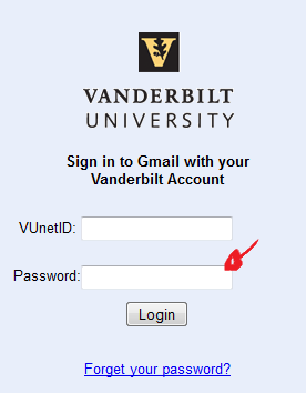 vanderbilt sign in step 2
