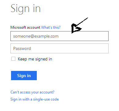 outlook sign in step 1